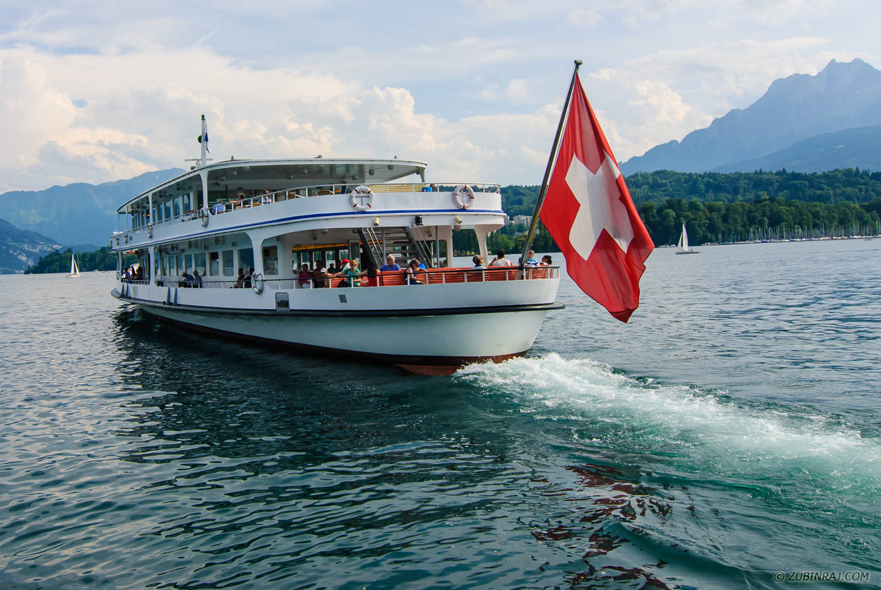 Transport Boat Plying In The Lakes of Switzerland-20140622-DSC_5272